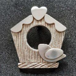 Fine silver birdhouse pendant