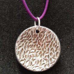Fine silver round domed pendant