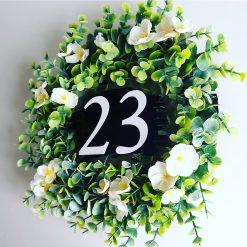 Hand made door number wreaths