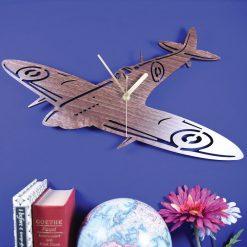 Spitfire clock. Wooden Spitfire. Aeroplane clock. Aircraft clock. WW2 Wartime. Perfect for Spitfire fans. Spitfire obsessives. Spitfire fans
