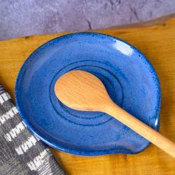 Spoon Rest  - Stoneware with Blue Glaze