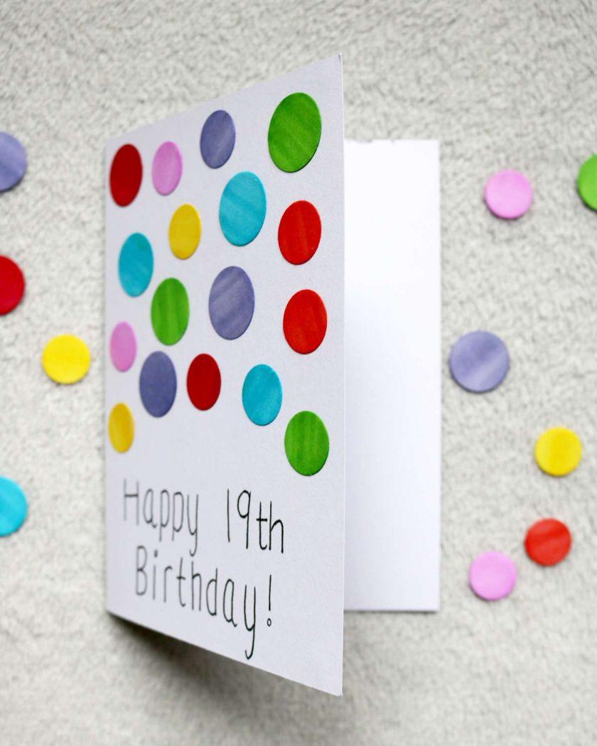 Rainbow Spotty Happy Birthday Greetings Card