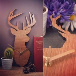 Stag / Deer Clock - Wooden Stag / Deer Clock - Stag or Deer. Perfect for Stag or Deer lovers. Ideal gift for Stag or Deer obsessives.