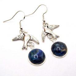 Swallow Bird Earrings, Blue Glass Cabochon on Sterling Silver Hooks. 3.5 cm Drop. Free UK Postage