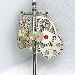 Steampunk Sword Brooch, Cogs and Gears, Upcycled Watch Movement. Free UK Postage