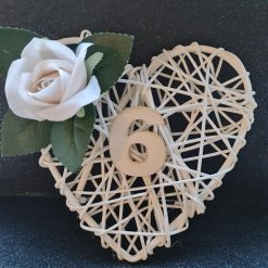 Rattan Cream Heart Table Place Display with Ivory Rose