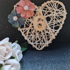 Rattan Cream Heart Table Place Display