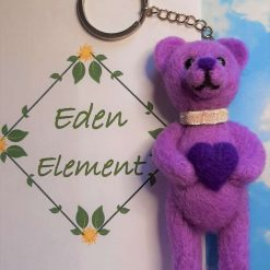 """""""I Love you"""" Teddy bear key-ring, needle felted bear in chain and key-ring, nice gift to someone you love"""
