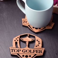 Individual Top Golfer Coaster - Wooden Golf Coaster - Ryder Cup Coaster. Perfect for golf lovers. Ideal gift for golfing obsessives.