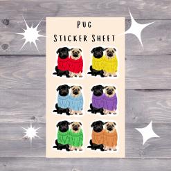 Pug Dog Sticker Sheet   Dog Illustration   Custom Pet Sticker   Dog Themed Gift   Fun Stickers (Copy)