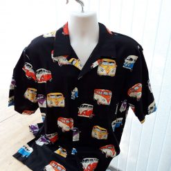 Campervan themed men's casual shirt with retro styling