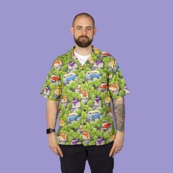 Campervan themed men's casual shirt with retro styling (green)