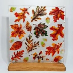 Autumn Fall Glass Display Piece in Stand