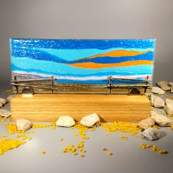 Beach View Glass Display Piece in Stand