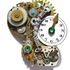Steampunk Brooch, Upcycled Cogs and Gears, Upcycled Watch Movement. Free UK Postage