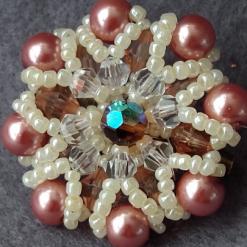 caramel coloured beaded brooch