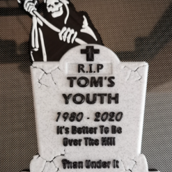 3D Printed Grim Reaper Tombstone Cake Topper R.I.P Youth Personalised