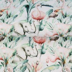 Elephant, Flamingo, Safari, Cotton Lycra, Unisex, 4 Way Stretch