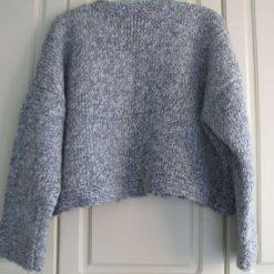 Womens / Ladies Grey Marl Chunky Fisherman's Knit Jumper/ Sweater, Handmade 4