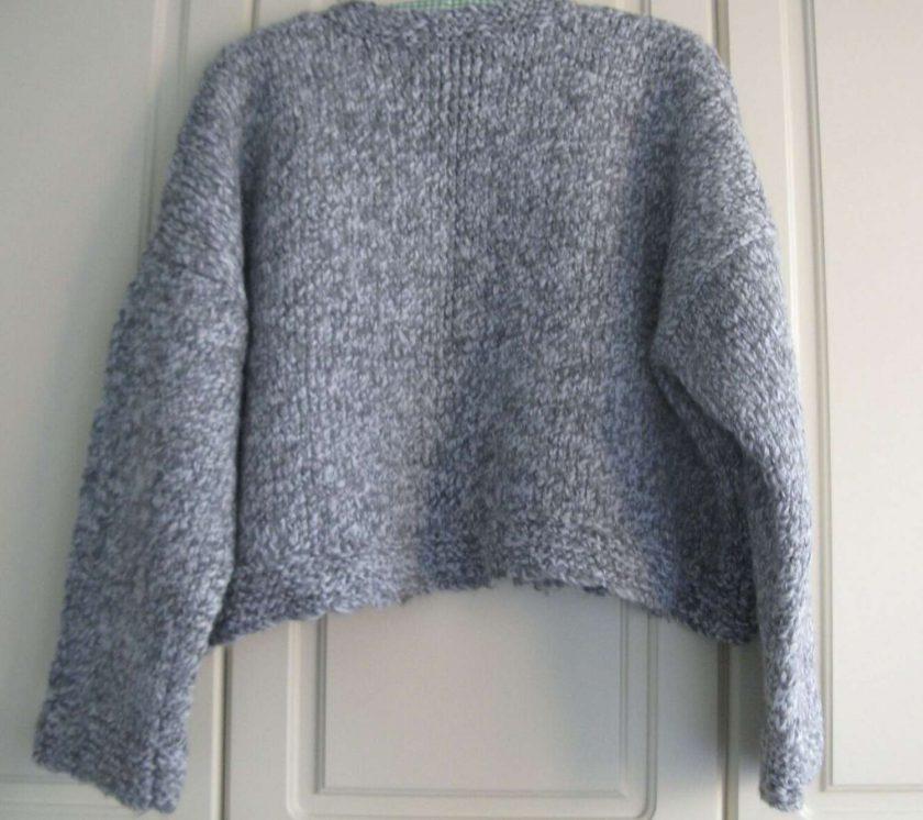 Womens / Ladies Grey Marl Chunky Fisherman's Knit Jumper/ Sweater, Handmade