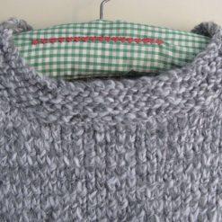 Womens / Ladies Grey Marl Chunky Fisherman's Knit Jumper/ Sweater, Handmade 1