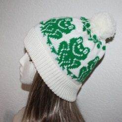 Green Frogs on a White or Cream Beanie Hat - with or without pompom