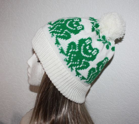with or without pompom top Teen to Adult unisex size Dark Green beanie hat with golden Corgi dogs