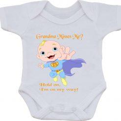 Grandma Misses Me Present gift one-piece Sublimation Babygro White Baby Vest or bib