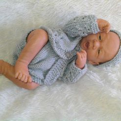 RTS~Hand-Knitted Cardigan, Beanie & Soakers~Grey~Premature or Doll
