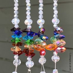 Czech Crystal Hanging Rainbow Chakra Point Suncatchers, with Tassel and Lotus Flower Charm, Meditation, Yoga, Chakra Healing