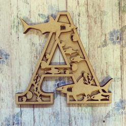 Shark personalised hand painted Letter/Initial wall plaque
