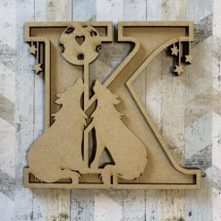 Wolves personalised hand painted Letter/Initial wall plaque