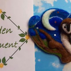 Midnight sky brooch, little owl watching the stars and the moon with safety pin in the back.