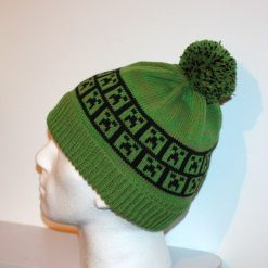 Grass Green beanie hat with Minecraft Inspired Creeper - with or without pompom option - Teenagers upto Adults size