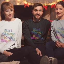 Eat, Sleep, Knit, Repeat - Unisex crew neck jumper