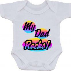 My Dad Rocks Present gift one-piece Sublimation Babygro White Baby Vest or bib