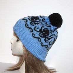 White Octopus on a Black beanie hat - Made with or without Pompom option- Teenager to Adult unisex size