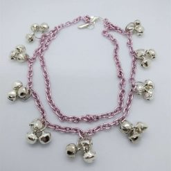 Jewellery: Anklet, pink chain with bells