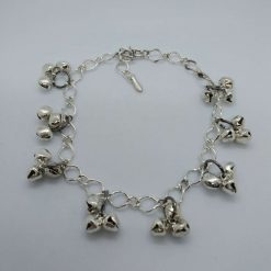 Jewellery: Anklet, silvertone with bells