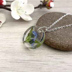 Real flower pendant necklace with dried Forget Me Not flowers in resin on an 18 inch silver tone chain, Birthday gifts for women,
