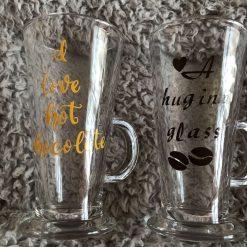 Personalised Tall glass - Coffee / Chocolate / Tea