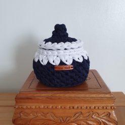 Crochet storage basket with lid, jewelry storage box, desk storage, navy and white storage bowl