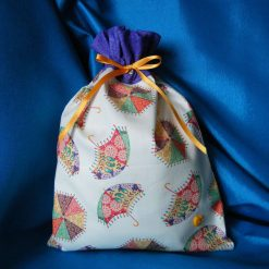 Reusable fabric gift bag (purple umbrellas)