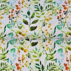 Floral, Plant, Watercolour Painting, Cotton Lycra