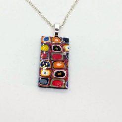 Kandinsky inspired circles rectangle pendant