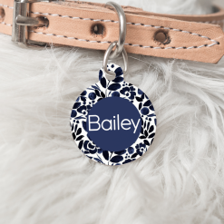 Personalised Dog Cat Pet ID Tag Double Sided Circle Dog Tag Blue Floral Pttern