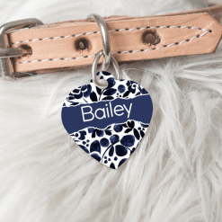 Personalised Dog Cat Pet ID Tag Double Sided Heart Shape Tag Blue Floral