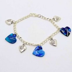 Blue and silver hearts bracelet