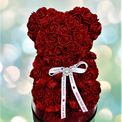 Glittery Red Flower Rose Bear Without Gift Box for Mother's Day, Gift, Valentine's Day, Anniversary