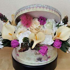 Romantic Love Vintage Glam Hat Box Flower Arrangement in Cream